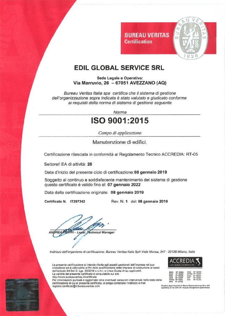 Certificazione Edil global service 9001